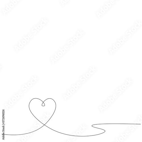 Heart one line drawing background design. Vector illustration Fototapete