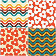 Vector seamless mid-century modern pattern set- 60s and 70s style, geometric retro design with flowers and waves