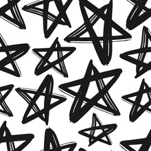Black Ink Stars Isolated On Wh...