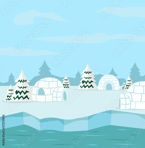 winter north pole arctic with igloo Wallpaper Mural