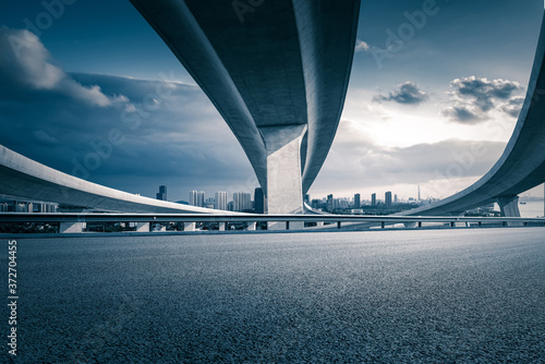 Clear sky, overlooking the city from the highway interchange Canvas Print
