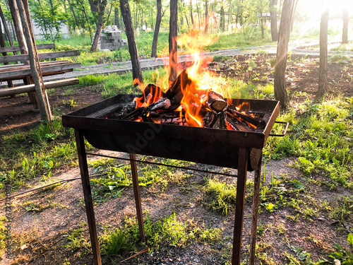 Photo Burning wood in a brazier