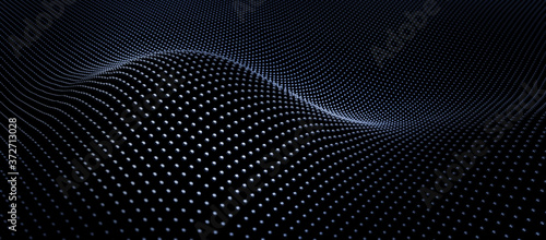 Abstract black particle array wave background - 3D illustration Fototapete