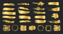 Set Of Gold Brush Strokes. Gol...