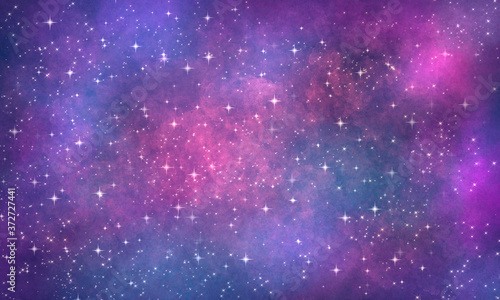 Fotografie, Obraz cosmic purple pink blue background with clouds and stars, many sparks and glitter