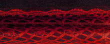 Texture, Background, Pattern. Ruby Red Lace Fabric, A Combination Of Red With Black Fabric. Blushing, Ruddy, Florid, Gules, Blushful