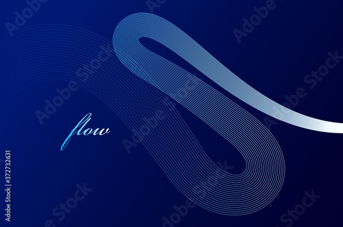 Abstract lines in 3D motion dimensional perspective vector background, elegant curvy light stripy design element, template for banner or poster and other ads Wallpaper Mural
