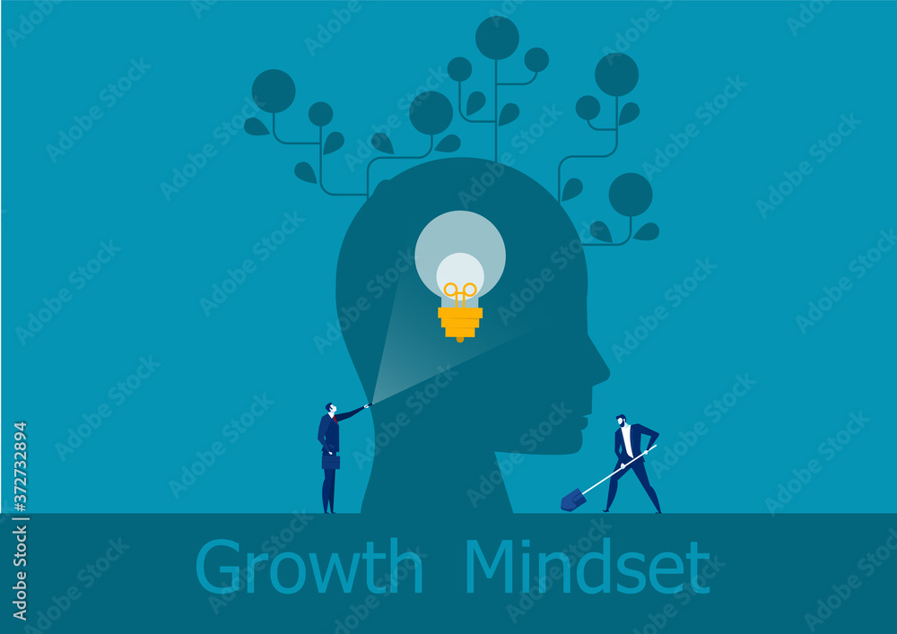 Fototapeta businessman holding flashlight emits brain growth mindset positive concept vector illustrator