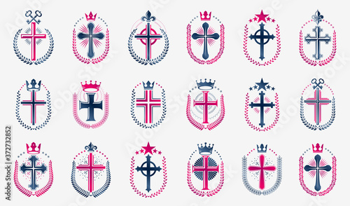 Fotografía Religion crosses logos big vector set, vintage heraldic Christian emblems collection, classic style heraldry design elements, ancient designs, belief