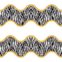 Seamless Pattern Of Golden Chains On White Background With Zebra Skin. Repeat Design Ready For Decor, Fabric, Prints, Textile.