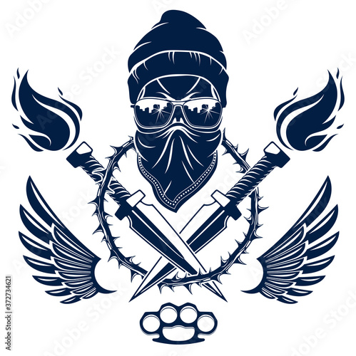 Valokuvatapetti Revolution and Riot wicked emblem or logo with aggressive skull, weapons and different design elements , vector tattoo, anarchy and chaos, rebel partisan and revolutionary