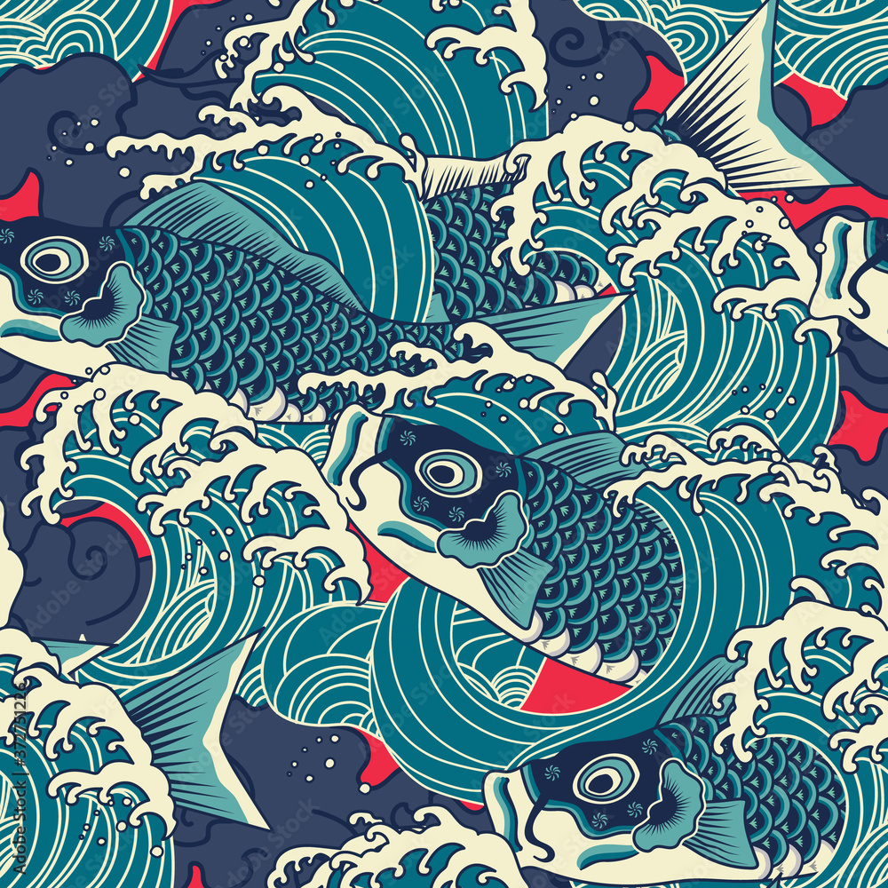 Colorful japanese Koi/carp fish in the wave seamless pattern