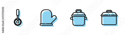 Canvastavla Set line Cooking pot, Pizza knife, Oven glove and icon. Vector.