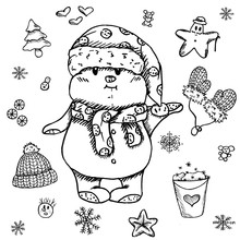 The Puffy And Serious Snowman In The Santa`s Hat Is Snowing The Nearest Way To The Winter Holidays Rest