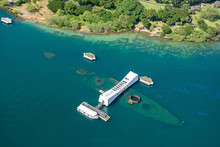 Aerial View Of The Arizona Memorial Pearl Harbor In Honolulu On Oahu, Hawaii