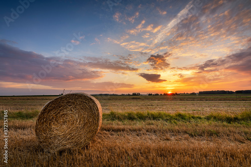Leinwand Poster Beautiful summer sunrise over fields with hay bales