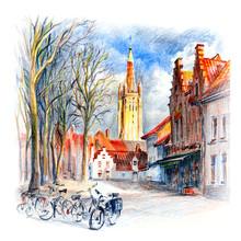 Urban Sketch Of Bruges Square,...