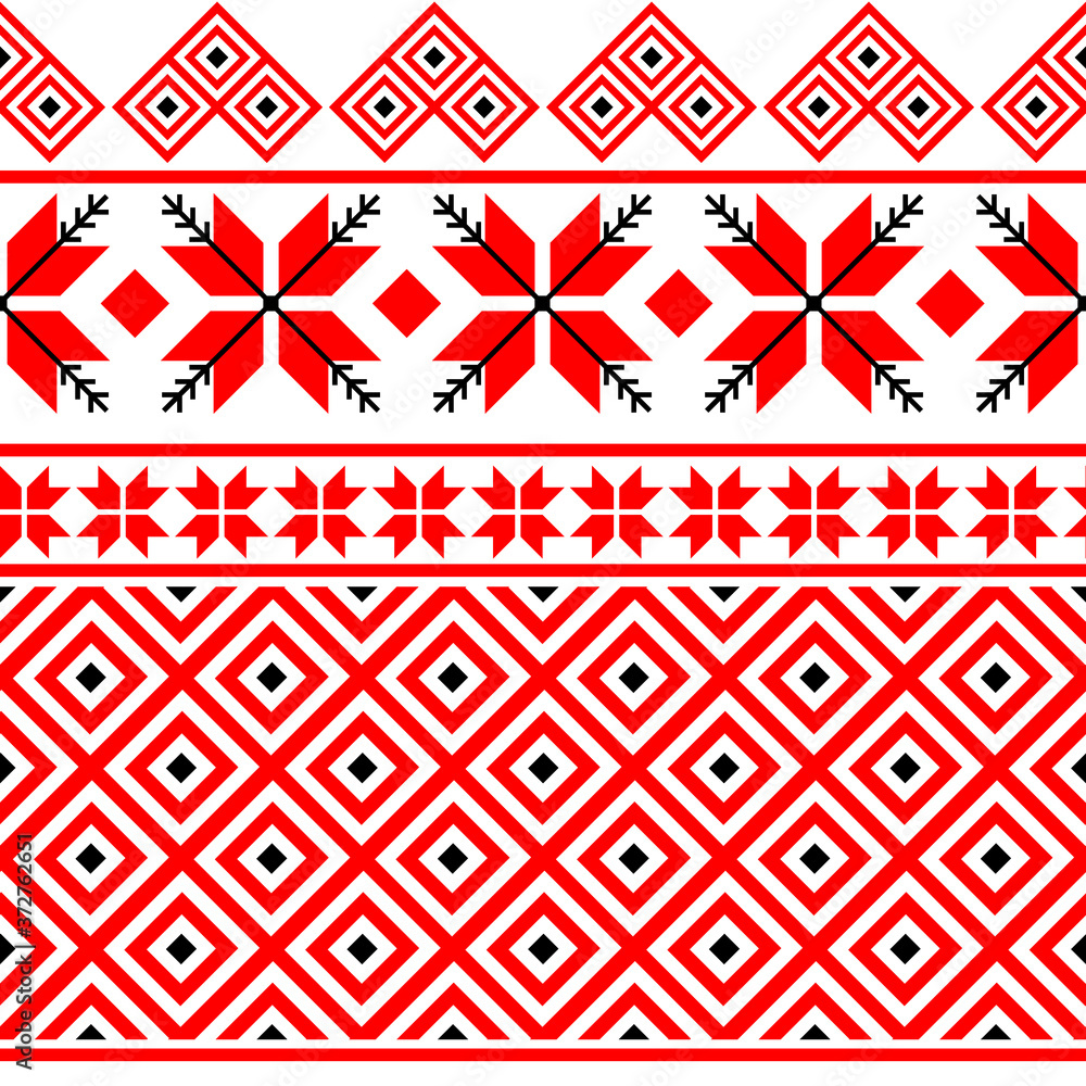 Bulgarian embroidery style red seamless pattern