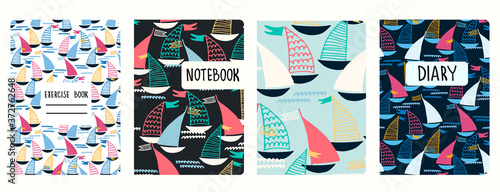 Fotografie, Obraz Set of cover page vector templates based on seamless patterns with sailing boats