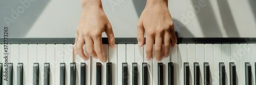 Fotografia, Obraz Woman learning to play piano at home on digital keyboard