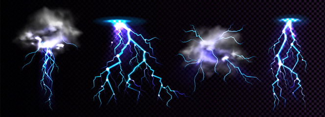 Lightning strikes and thundercloud, impact place or magical powerful energy flash in blue color png. Thunderbolt electrical discharge, realistic 3d set isolated on black and transparent background