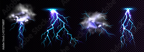 Obraz Lightning strikes and thundercloud, impact place or magical powerful energy flash in blue color png. Thunderbolt electrical discharge, realistic 3d set isolated on black and transparent background - fototapety do salonu