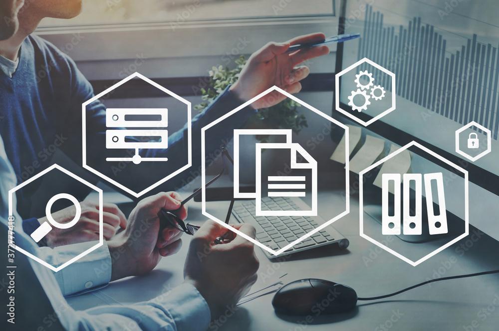 Fototapeta Document management concept, data system for business.