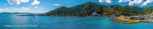 Fotografie, Obraz A panorama view towards the waterfront in Road Town, Tortola