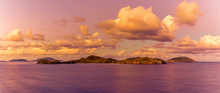 A View Of The British Virgin Islands Illuminated By The Setting Sun In Tortola