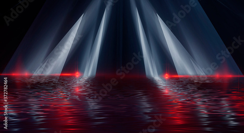 Abstract dark modern futuristic background with red neon light, beams and spotlights. Reflection of night lights in the water. Light tunnel, neon light. Empty night scene. 3D illustration.