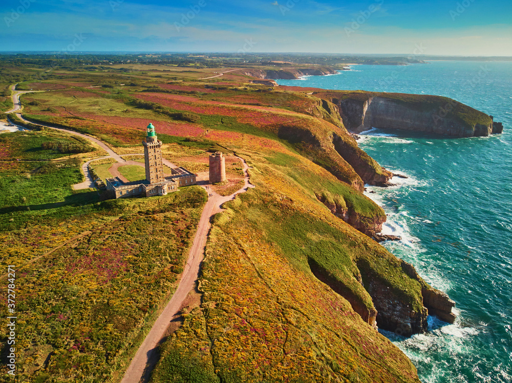 Fototapeta Scenic view of Cape Frehel, one of the most popular tourist destinations in Brittany, France