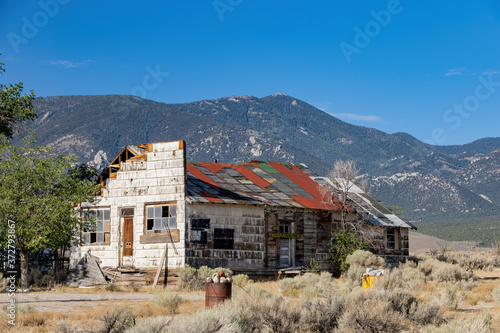 Sunny view of a beautiful abandoned house Canvas Print