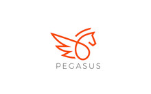 Pegasus Logo Form With Simple Line In Red Color