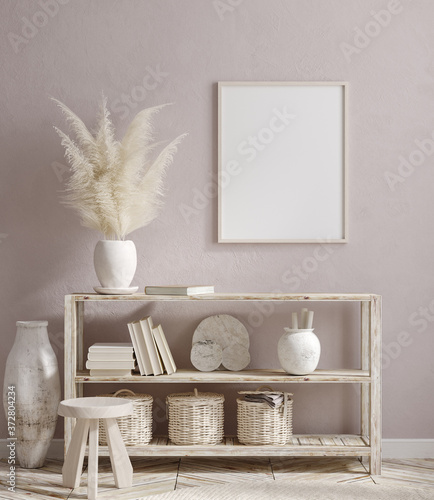 Vászonkép Mockup frame in farmhouse living room interior, 3d render