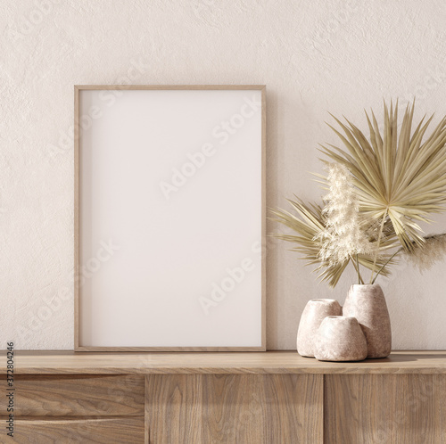 Papel de parede Mockup frame with dry plant in pot close up, nomadic style, 3d render