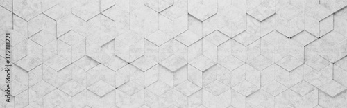 Light Gray Rhombus and Hexagons 3D Pattern Background Fototapet