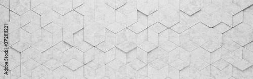 Fényképezés Light Gray Rhombus and Hexagons 3D Pattern Background