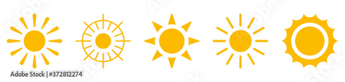 Foto Sun icons symbols silhouette orange on white background