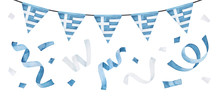 Water Color Illustration Collection With Garland With Flag Of Greece And Blue And White Flying Confetti. Hand Drawn Watercolour Graphic Painting, Cut Out Clipart Elements For Design, Print, Poster.