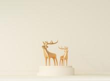 Gold Metal Deer With Podium, A...