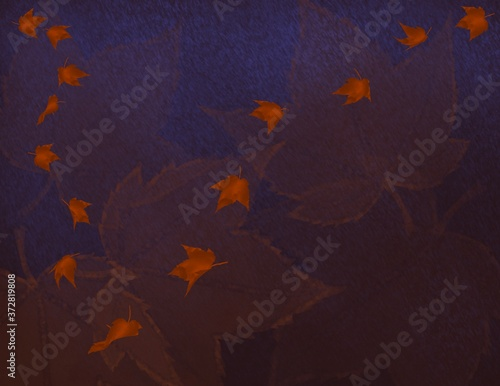 Autumn/Fall Background with Maple Leaves in the night Canvas