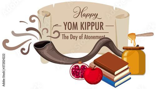 Cuadros en Lienzo Happy Yom Kippur banner with shofar