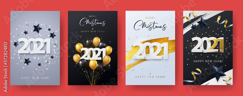 Fototapeta Happy New Year 2021. Xmas vector illustration of paper cut 2021 with sparkling confetti, silver and black stars, gold and black realistic 3d flying balloons, golden brush stroke. Template Set obraz