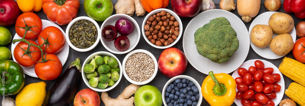 Fototapeta Healthy eating ingredients: fresh vegetables, fruits and superfood. Nutrition, diet, vegan food concept