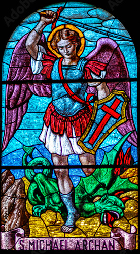 Fotografia coloured stained glass of Saint Michael Archangel