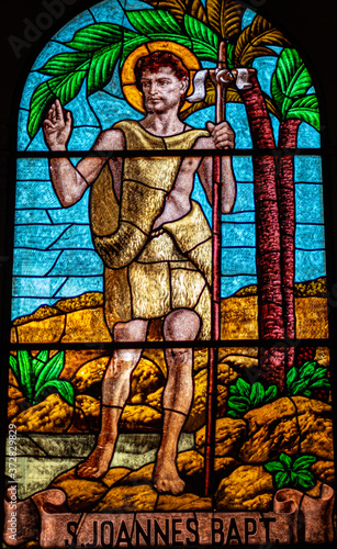Foto coloured stained glass of Saint John the Baptist