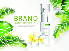 Sun Protection Cosmetic Vector Realistic Ads Poster. Light Plastic Spray Bottle With Sunscreen Product And Bright Tropical Leaves On White Background. Spf Cosmetics, Mock Up For Glossy Magazine