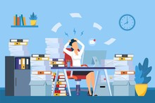 Tired And Exasperated Office Worker Is Grabbed His Head Among Piles Of Papers And Documents. Stress In The Office. Rush Work. Vector Illustration In Flat Style