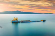 Shipwreck  At Sunset. Sunken D...