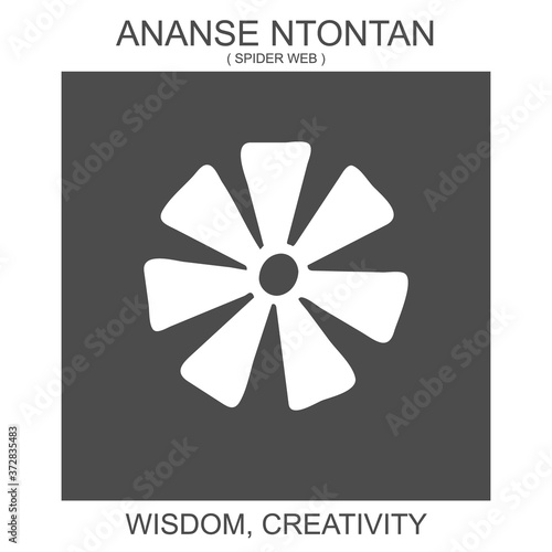 Photo vector icon with african adinkra symbol Ananse Ntontan